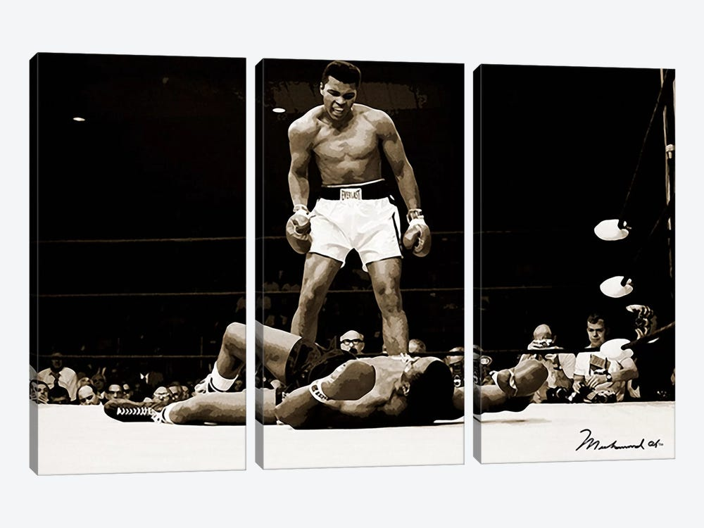 Muhammad Ali Vs. Sonny Liston, 1965 3-piece Canvas Artwork