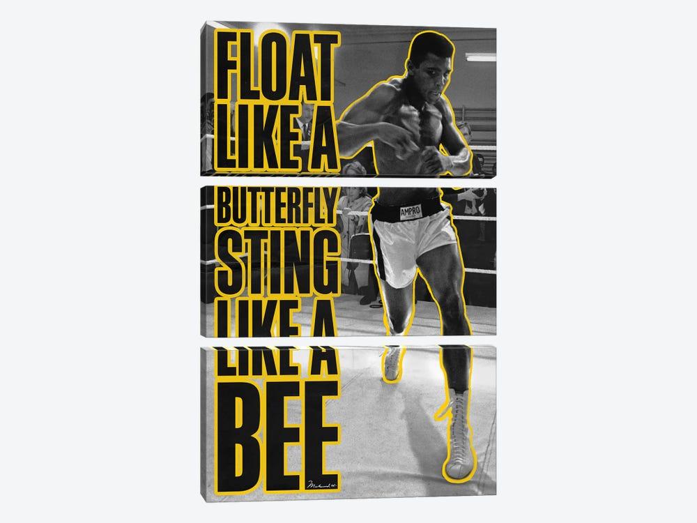 Float like a butterfly Sting like a Bee by Muhammad Ali Enterprises 3-piece Art Print