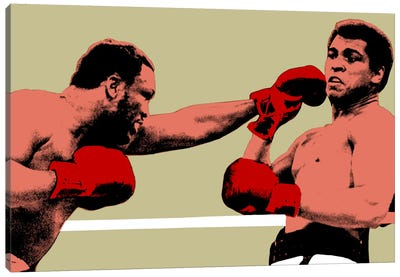 Joe Frazier Throwing Punch at Muhammad Ali, 1975 Canvas Art Print