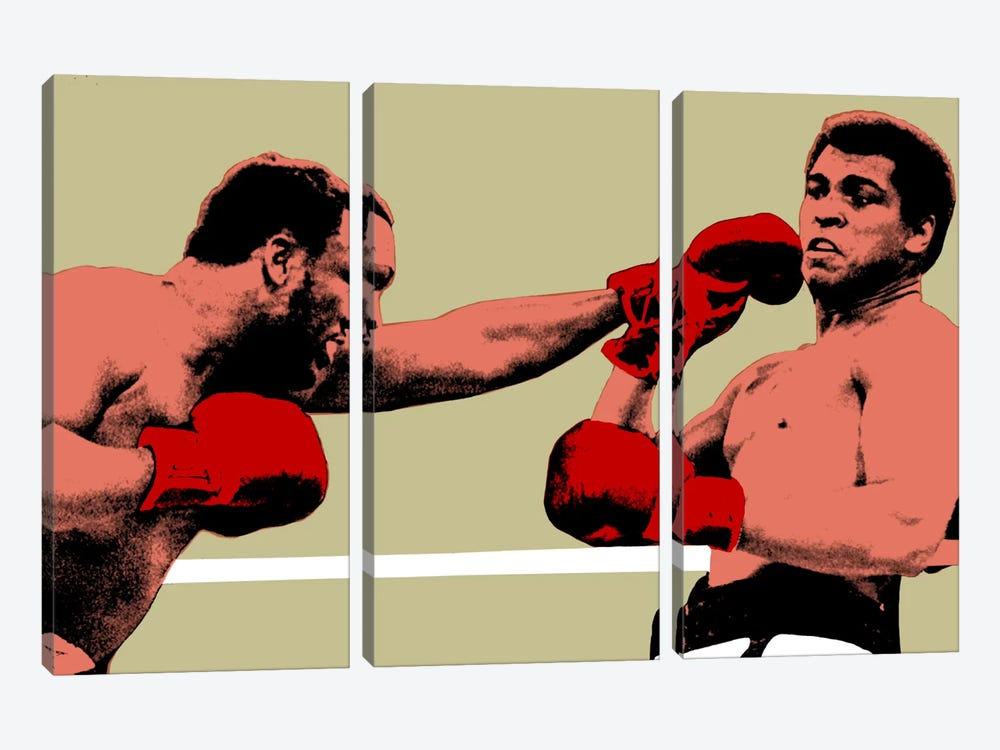 Joe Frazier Throwing Punch at Muhammad Ali, 1975 3-piece Canvas Art