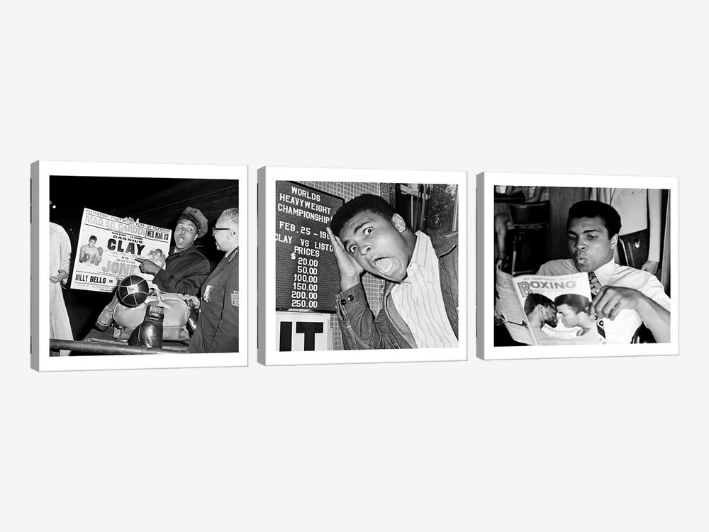 Muhammad Ali Reading a Magazine's by Muhammad Ali Enterprises 3-piece Canvas Art