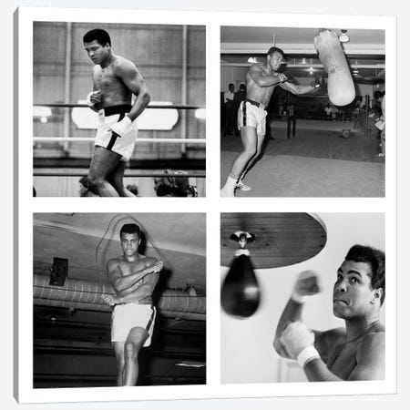 Muhammad Ali Practicing on Punching Bag, Muhammad Ali Punching Bag Canvas Print #10033} Canvas Art Print