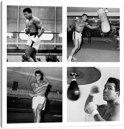 Muhammad Ali Practicing on Punching Bag, Muhammad Ali Punching Bag Canvas Art Print
