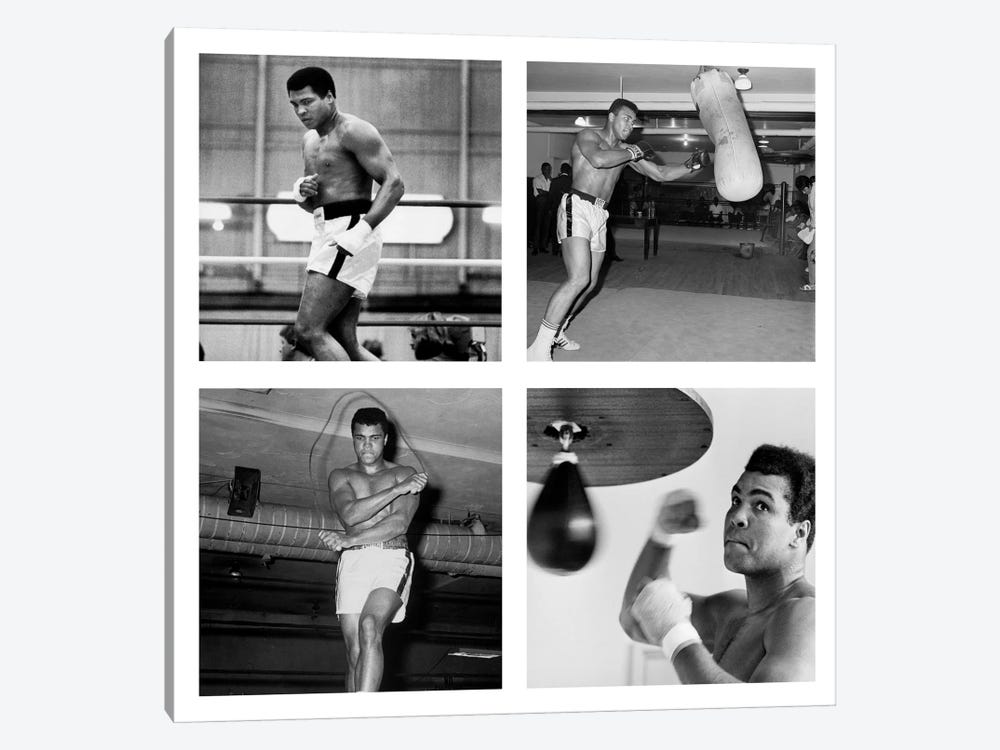 Muhammad Ali Practicing on Punching Bag, Muhammad Ali Punching Bag by Muhammad Ali Enterprises 1-piece Canvas Art