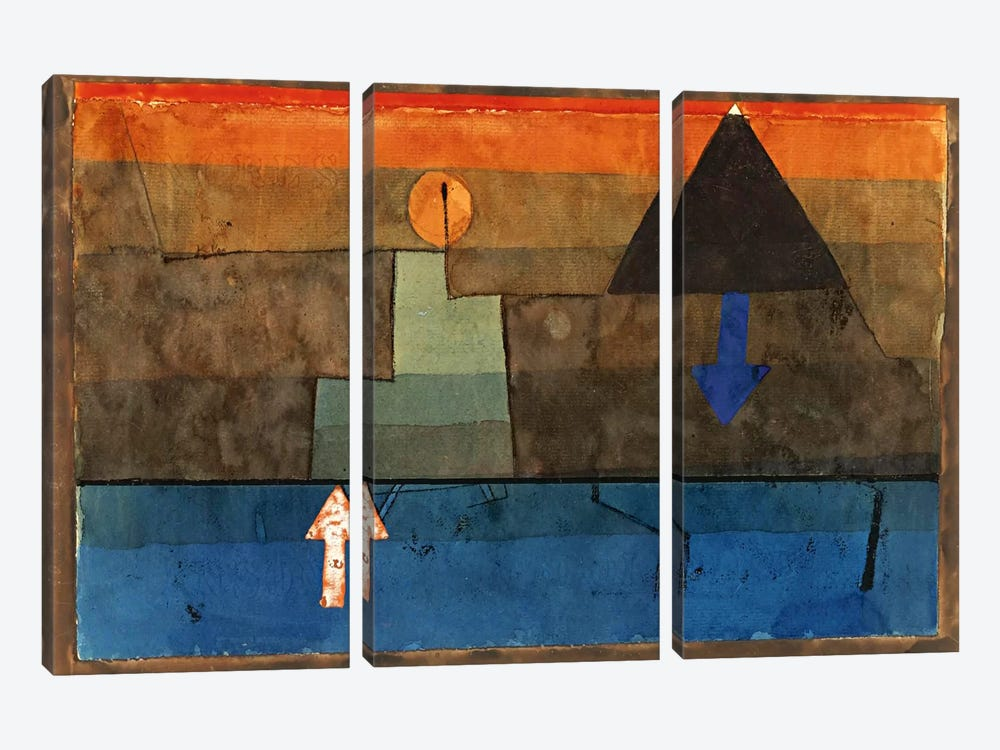 Contrasts in the Evening (Blue and Orange) 1924-1925 by Paul Klee 3-piece Canvas Art