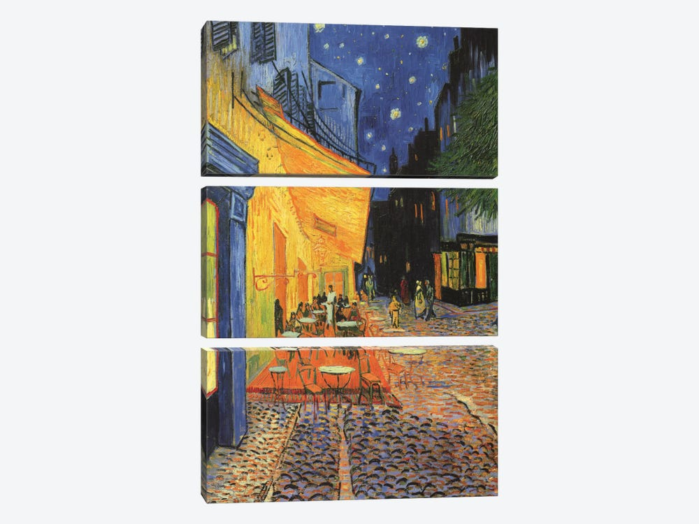 The Cafe Terrace on the Place du Forum (Café Terrace at Night), 1888 by Vincent van Gogh 3-piece Canvas Art Print