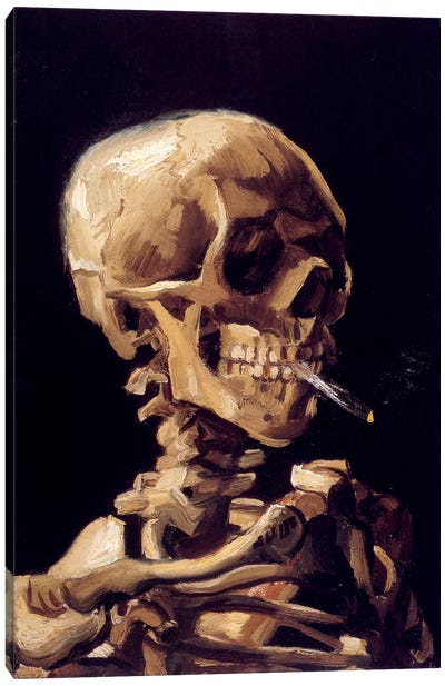 Skull Of A Skeleton With Burning Cigarette, c. 1885-1886 by Vincent van Gogh Canvas Art Print