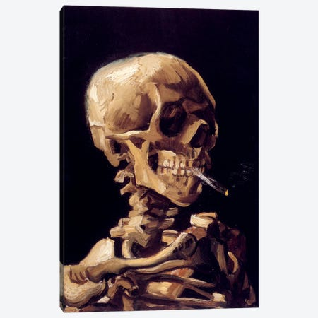 Skull Of A Skeleton With Burning Cigarette, c. 1885-1886 Canvas Print #1013} by Vincent van Gogh Canvas Art Print