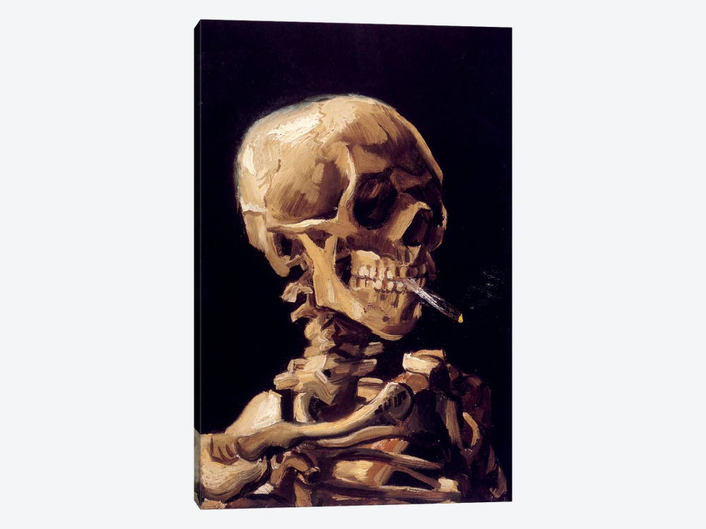 Skull Of A Skeleton With Burning Cigarette, c. 1885-1886 by Vincent van Gogh 1-piece Canvas Art