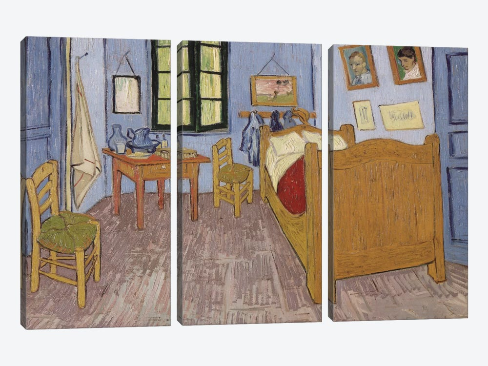 Bedroom In Arles, September 1889 by Vincent van Gogh 3-piece Canvas Print