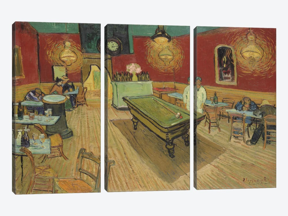 The Night Café, 1888 by Vincent van Gogh 3-piece Canvas Art Print