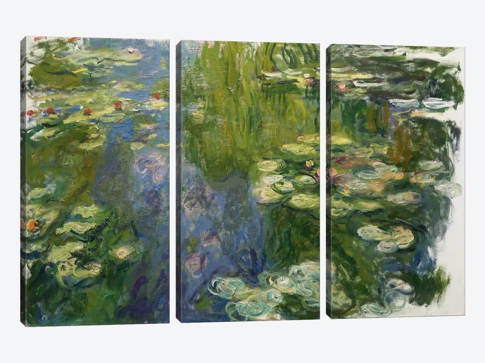 Le Bassin Aux Nympheas by Claude Monet 3-piece Canvas Wall Art