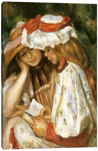 Two Girls Reading by Claude Monet Canvas Print