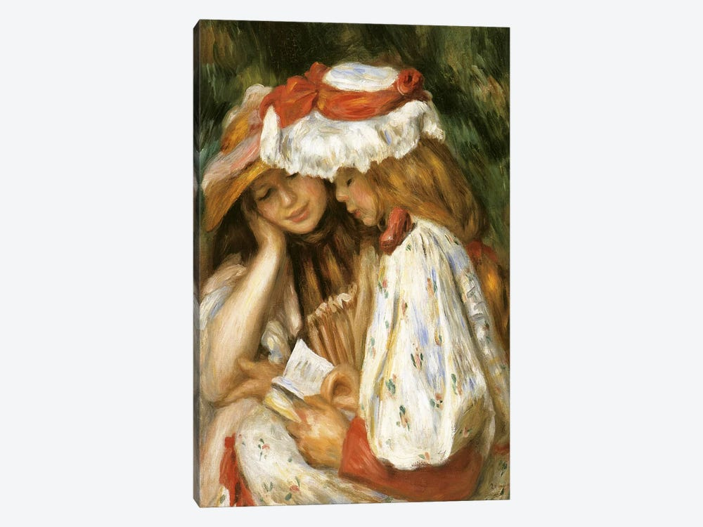 Two Girls Reading by Claude Monet 1-piece Canvas Wall Art