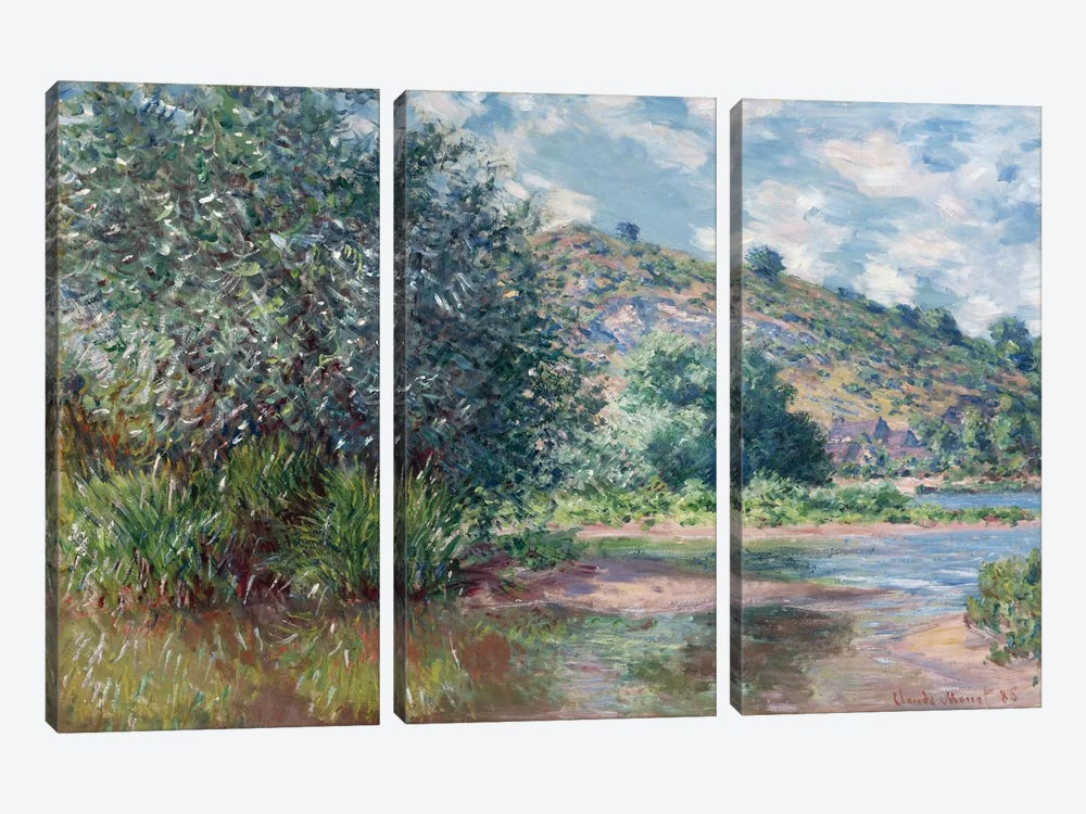 Paysage a Port-Villez 1885 by Claude Monet 3-piece Canvas Artwork