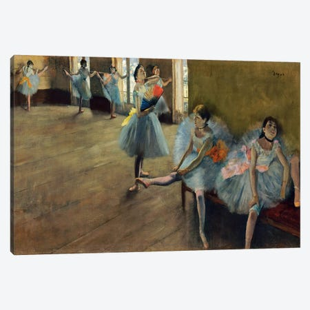 Dancers by Rail Canvas Print #1060} by Edgar Degas Canvas Art