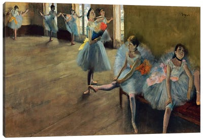 Dancers by Rail by Edgar Degas Canvas Art
