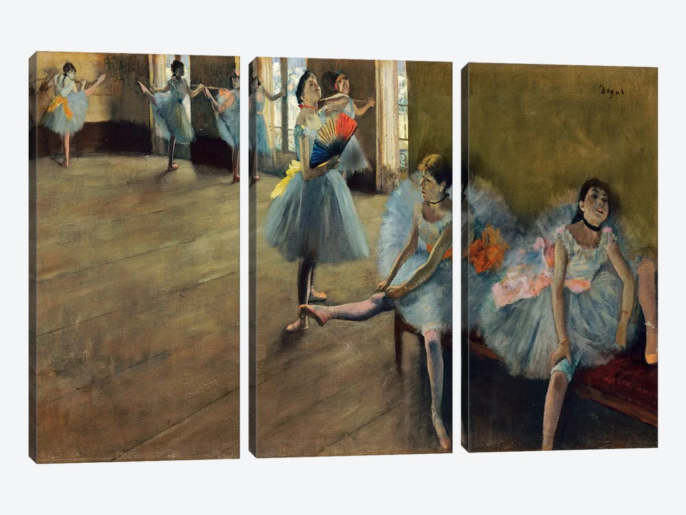 Dancers by Rail by Edgar Degas 3-piece Canvas Wall Art