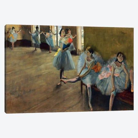 Dancers by Rail 3-Piece Canvas #1060} by Edgar Degas Canvas Art