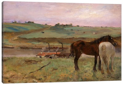 Horses in a Meadow, 1871 by Edgar Degas Canvas Wall Art