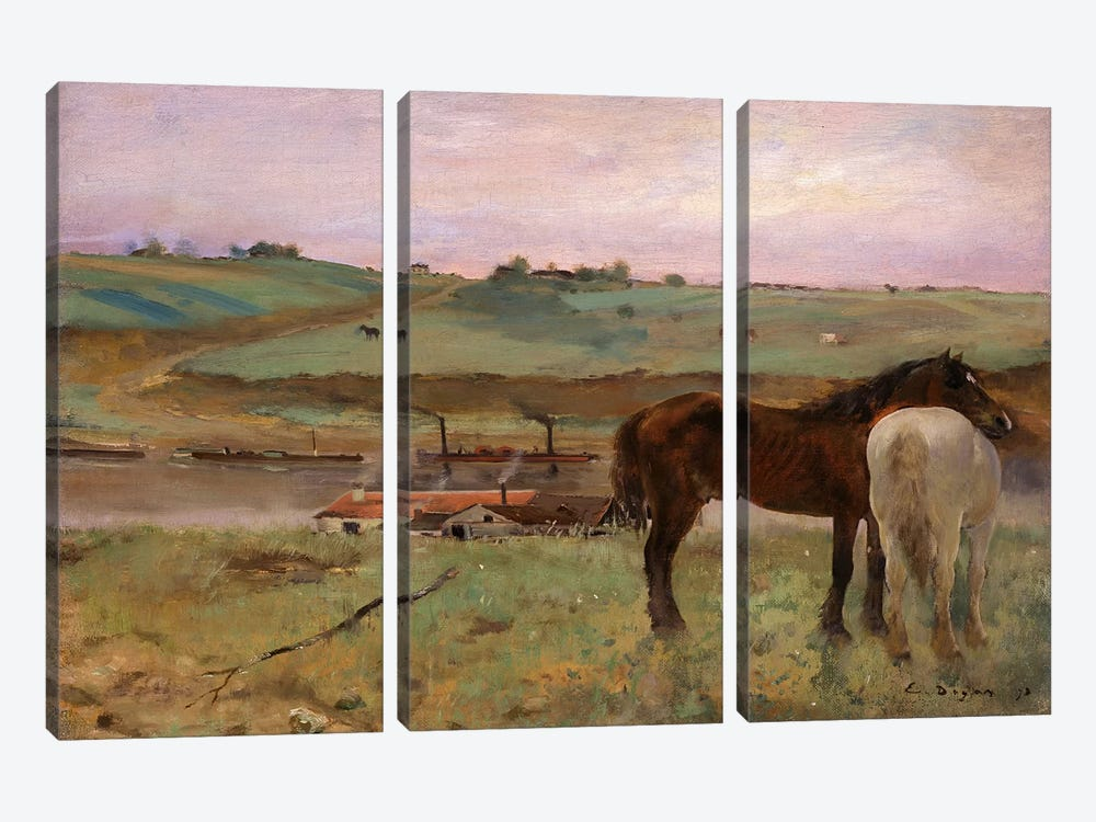 Horses in a Meadow, 1871 by Edgar Degas 3-piece Canvas Print