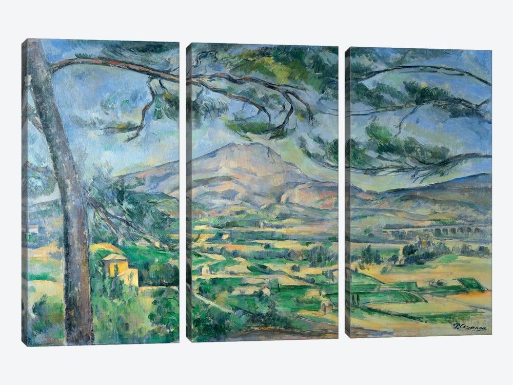Mont Sainte-Victoire with Large Pine-Tree 1887 by Paul Cezanne 3-piece Canvas Art