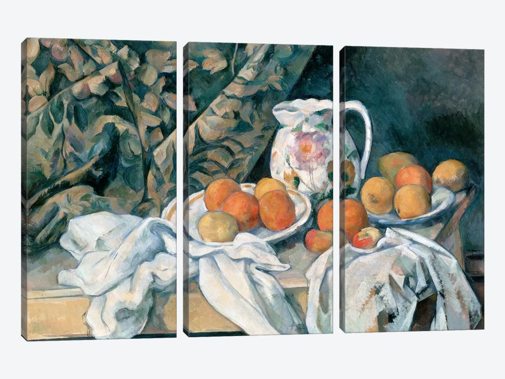 Still Life with a Curtain 1895 by Paul Cezanne 3-piece Canvas Art Print