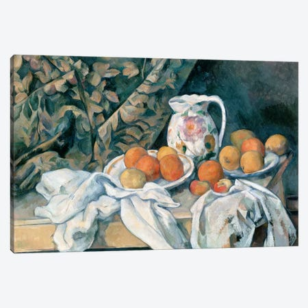 Still Life with a Curtain 1895 Canvas Print #1076} by Paul Cezanne Canvas Wall Art