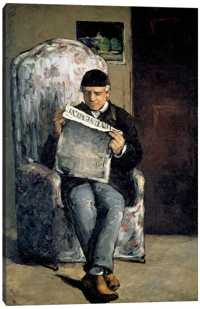 The Artist's Father (Reading L'Evenement) 1866 Canvas Art Print