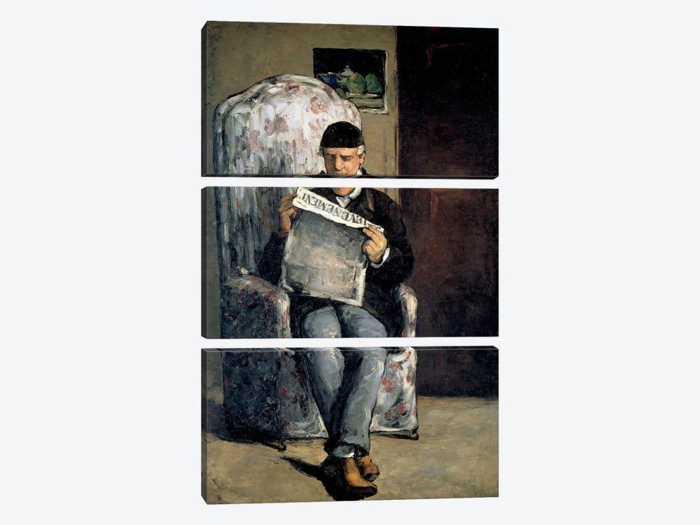 The Artist's Father (Reading L'Evenement) 1866 by Paul Cezanne 3-piece Canvas Print