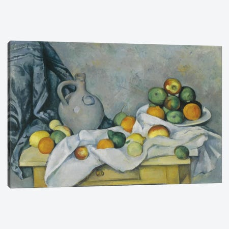 Curtain, Jug and Fruit Bowl (Rideau, Cruchon et Compotier), c. 1893-1894 Canvas Print #1079} by Paul Cezanne Canvas Print