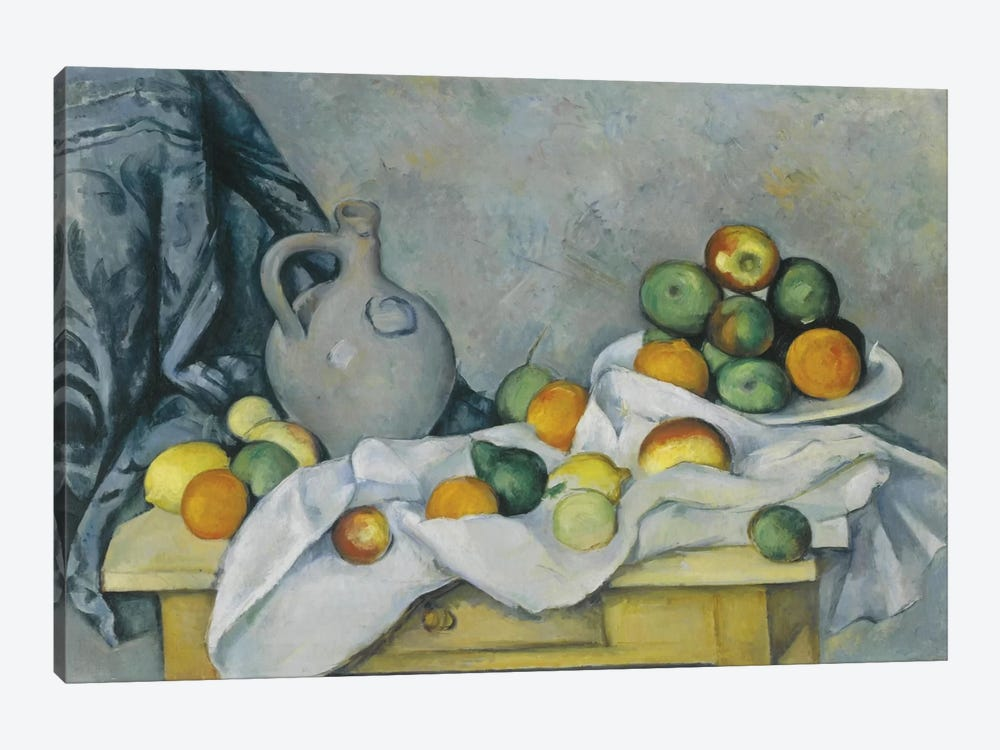 Curtain, Jug and Fruit Bowl (Rideau, Cruchon et Compotier), c. 1893-1894 by Paul Cezanne 1-piece Canvas Art
