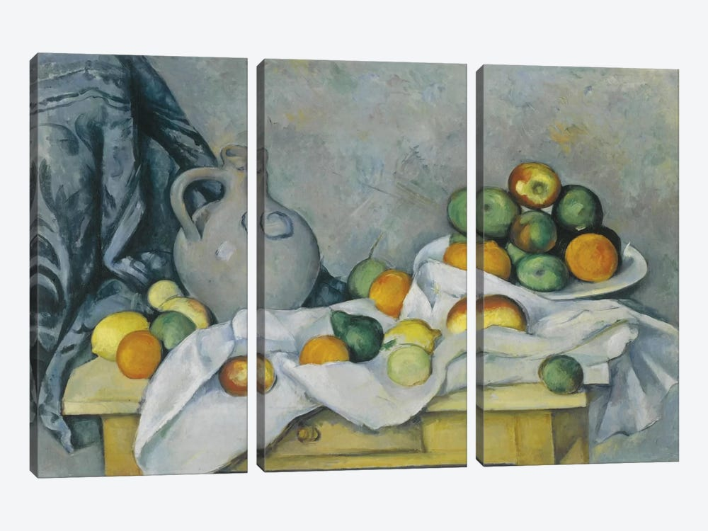 Curtain, Jug and Fruit Bowl (Rideau, Cruchon et Compotier), c. 1893-1894 by Paul Cezanne 3-piece Canvas Wall Art
