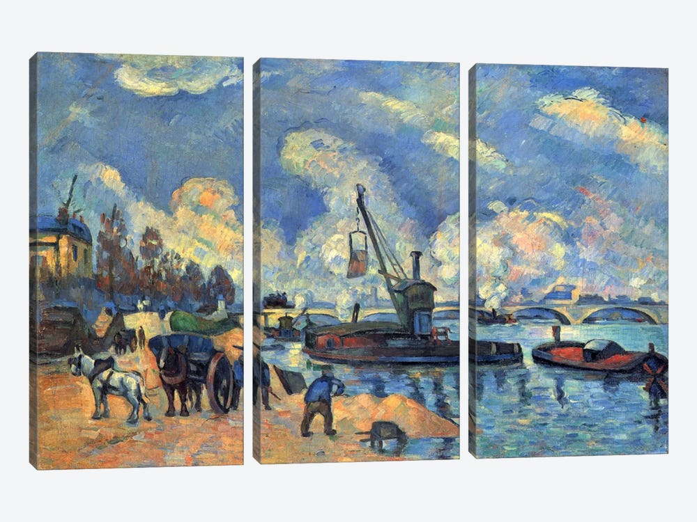 Seine At Bercy by Paul Cezanne 3-piece Art Print
