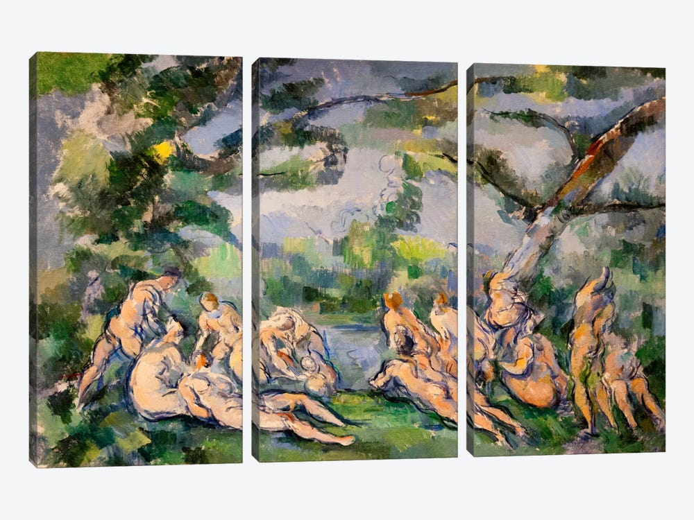 Bathers 1 by Paul Cezanne 3-piece Canvas Wall Art