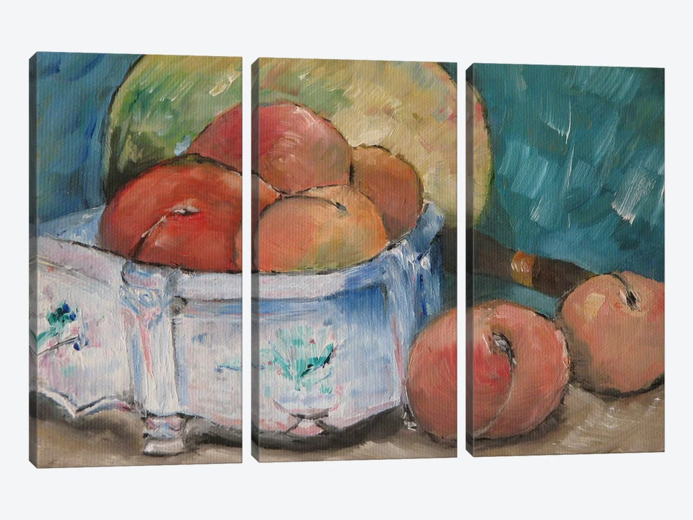 Fruit Bowl by Paul Cezanne 3-piece Canvas Wall Art