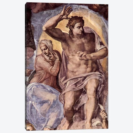 The Last Judgment (detail: Mary and Christ), 1536-1541 Canvas Print #1086} by Michelangelo Canvas Art Print