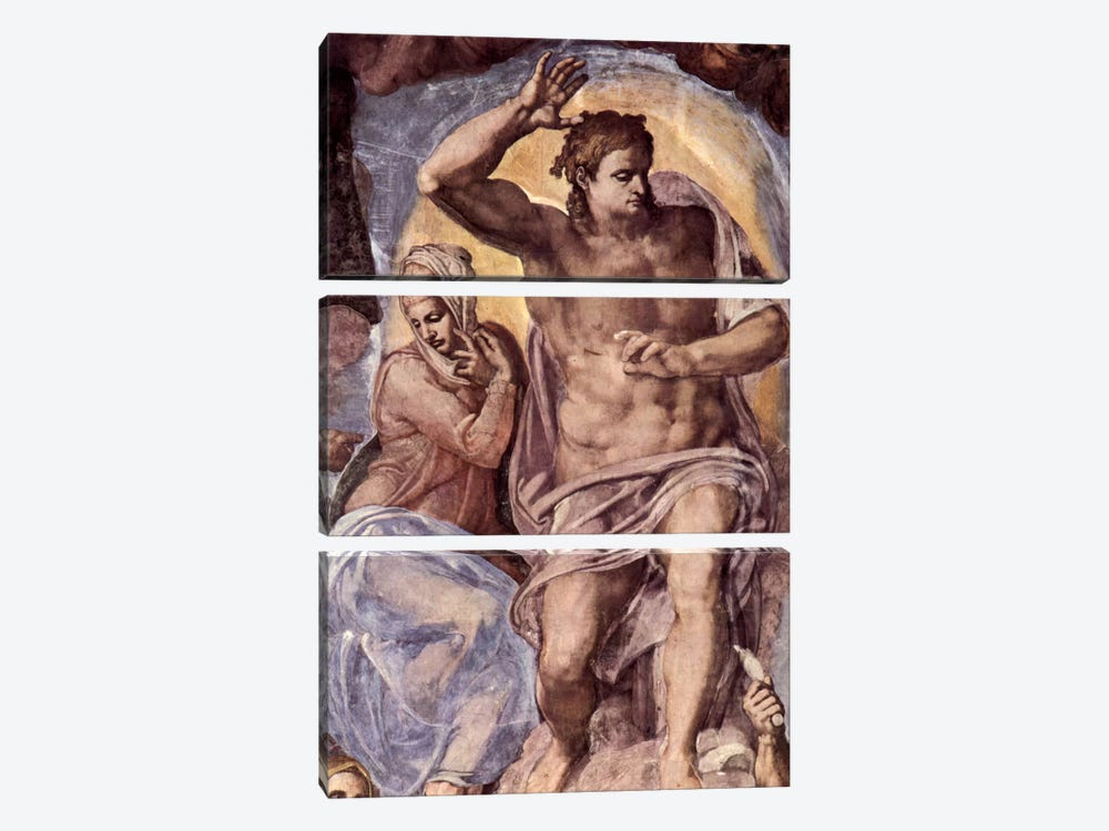The Last Judgment (detail: Mary and Christ), 1536-1541 by Michelangelo 3-piece Canvas Art