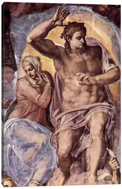 The Last Judgment (detail: Mary and Christ), 1536-1541 Canvas Art Print