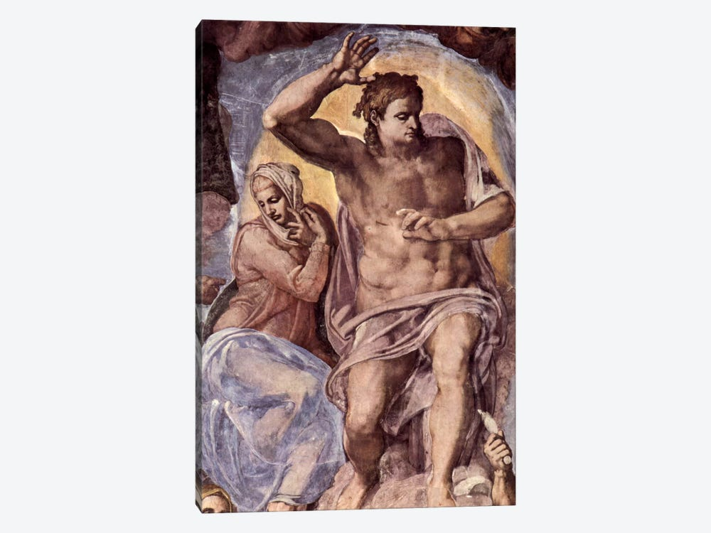 The Last Judgment (detail: Mary and Christ), 1536-1541 by Michelangelo 1-piece Canvas Artwork