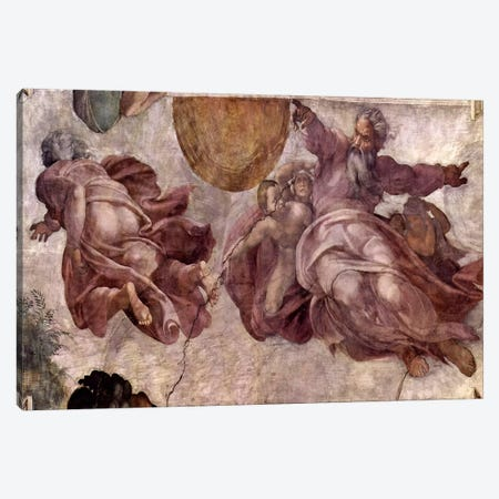 The Creation of the Sun, Moon and Vegetation, 1511 Canvas Print #1087} by Michelangelo Canvas Print