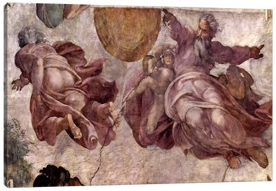 The Creation of the Sun, Moon and Vegetation, 1511 by Michelangelo Canvas Art Print