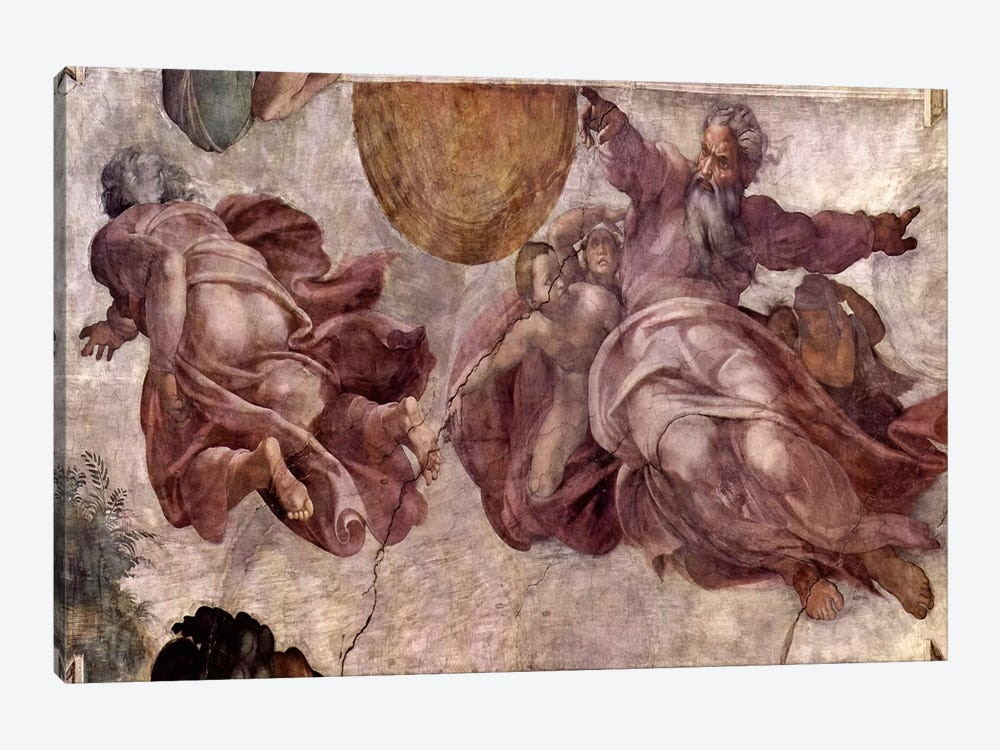 The Creation of the Sun, Moon and Vegetation, 1511 by Michelangelo 1-piece Canvas Art Print
