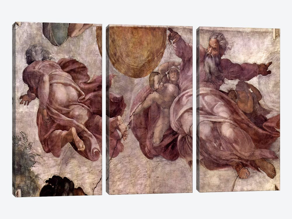 The Creation of the Sun, Moon and Vegetation, 1511 by Michelangelo 3-piece Art Print