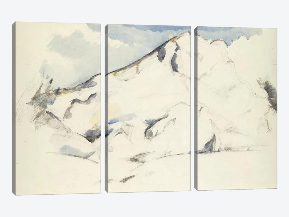 La Montagne Sainte-Victoire (Fruits Et Feuillage) 1900-1902 by Paul Cezanne 3-piece Art Print