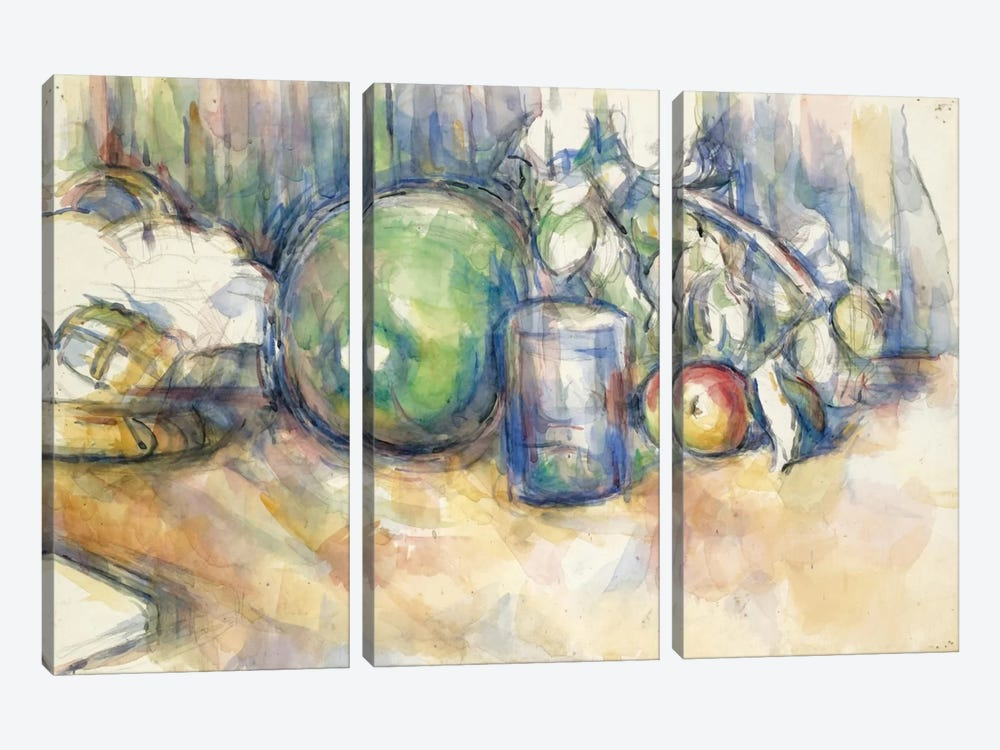 Nature Morte Au Melon Vert 1902-1906 by Paul Cezanne 3-piece Art Print