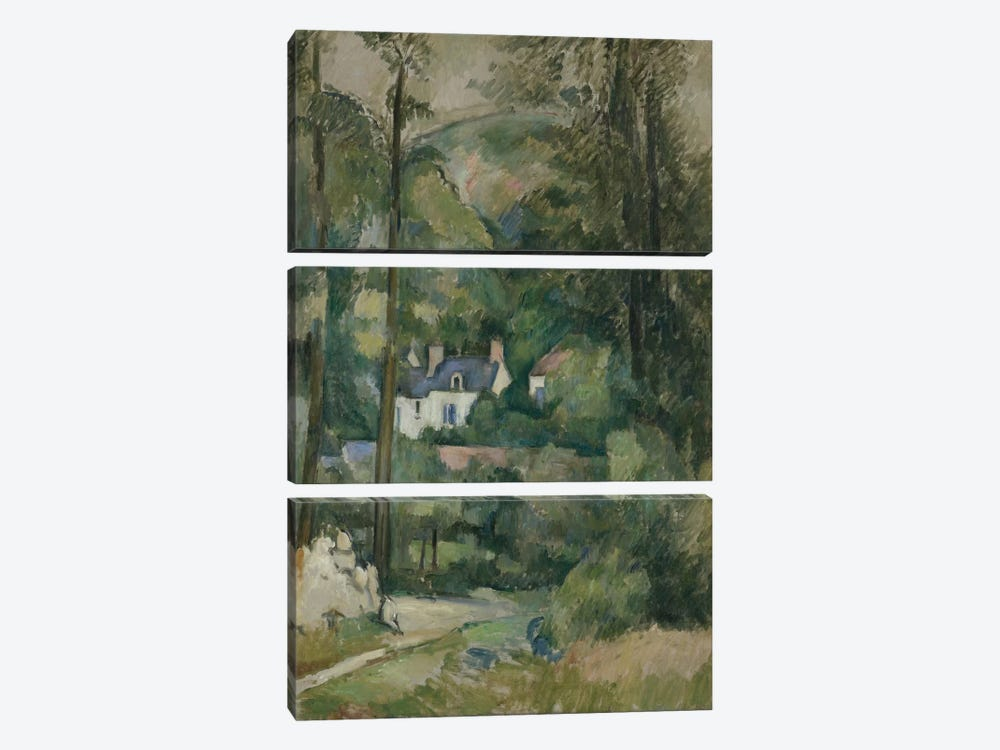Maisons Dans La Verdure 1881 by Paul Cezanne 3-piece Canvas Wall Art
