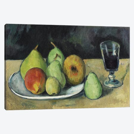 Verre Et Poires, c. 1879-1880 Canvas Print #1095} by Paul Cezanne Canvas Wall Art