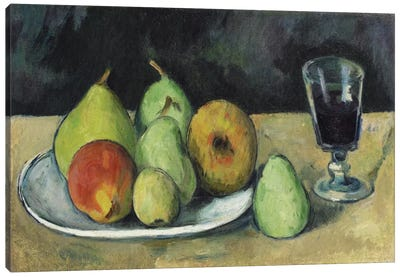 Verre Et Poires, c. 1879-1880 by Paul Cezanne Canvas Wall Art