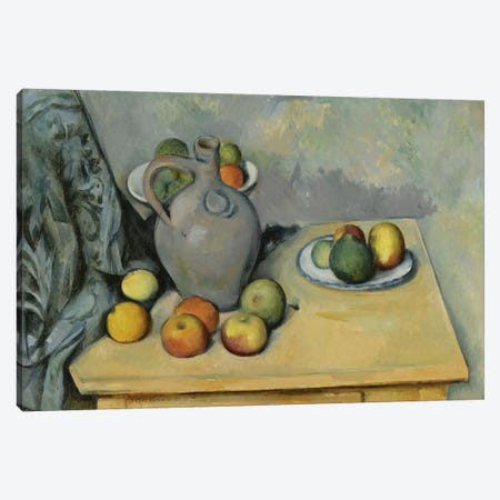 Pichet et Fruits sur Une Table (Pitcher and Fruits On A Table), c. 1893-1894 Canvas Print #1096} by Paul Cezanne Canvas Wall Art